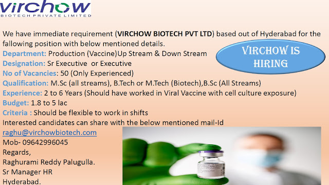 VIRCHOW BIOTECH PVT LTD Immediate Openings for BSc MSc All Streams Candidates Production Department