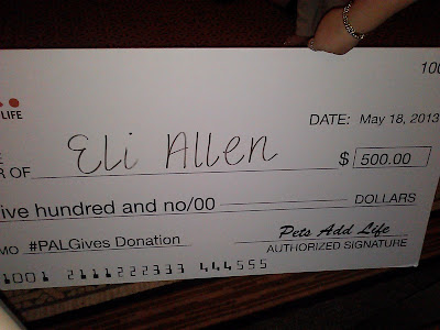 Large check from Pets Add Life for $500 for #PalGives promotion