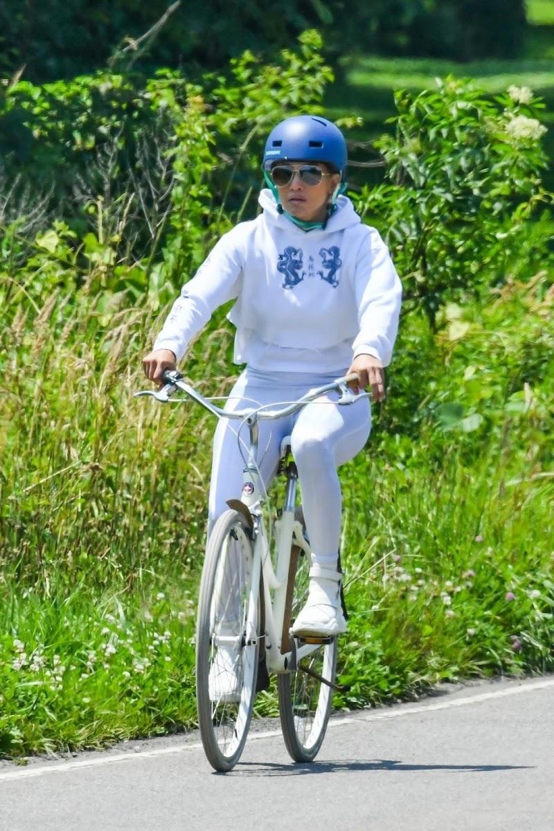 Jennifer Lopez Outside Riding a Bike in The Hamptons 8 Jul -2020