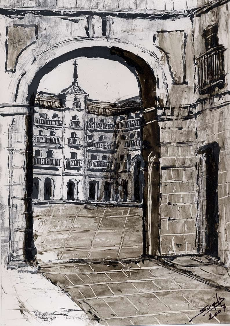 Vista del Arco de Cuchilleros de la Plaza Mayor de Madrid