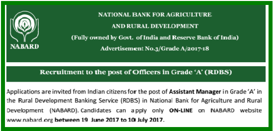 NABARD National Bank for Agriculture and Rural Development Recruitment 91 Vacancies Eligibility Apply Online @nabard.org NABARD National Bank for Agriculture and Rural Development Recruitment 91 Vacancies Eligibility Apply Online @nabard.org |Applications are invited from Indian citizens for the post of Assistant Manager in Grade 'A' in the Rural Development Banking Service (RDBS) in National Bank for Agriculture and Rural Development (NABARD). nabard-national-bank-for-agriculture-rural-development-recruitment-apply-online Candidates can apply only ON-LINE on NABARD website www.nabard.org between 19 June 2017 to 10 July 2017. Before applying, candidates should read all the instructions carefully and ensure that they fulfil all the eligibility criteria for the post. NABARD would admit to the Examinations all the candidates applying for the relevant post/s with the applicable requisite fee on the basis of the information furnished in the ON-LINE application and shall verify their eligibility at the stage of interview / joining. If at any stage, it is found that any information furnished in the ON-LINE application is false/ incorrect or if according to the Bank, the candidate does not satisfy the eligibility criteria for the post, his/ her candidature will be cancelled and he/she will not be allowed to appear for the interview/joining.Candidates are requested to apply only ON-LINE through Bank's website www.nabard.org. No other mode of submission of application will be accepted by NABARD. http://www.paatashaala.in/2016/09/nabard-recruitment-notification-for-85-apply-online.html