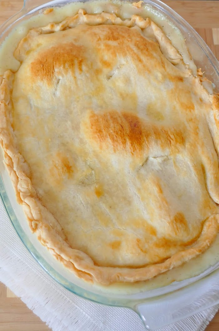 This delicious pot pie is a tried and true, comfort food family favorite! Perfect for a fall or winter Sunday dinner! Great with chicken, or use turkey breast leftover from your Thanksgiving or Christmas meal!