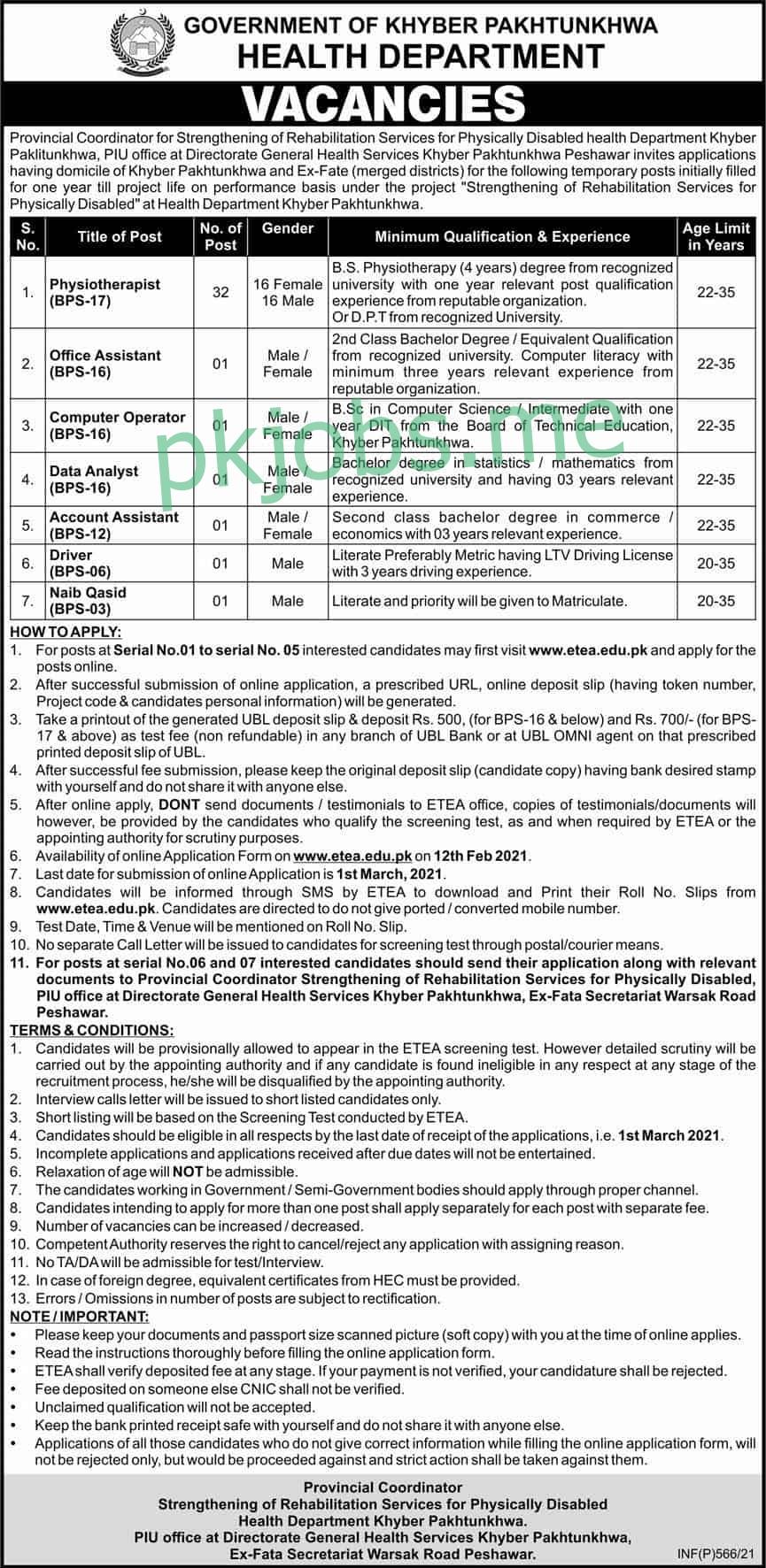 KPK Health Department Jobs 2021