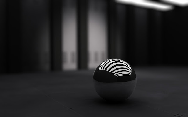 wallpaper 3d black ball wide
