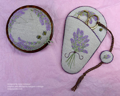 Completed Lavender and Bees Scissors Keeper with matching pincushion (original designs by Lorna Bateman)