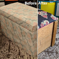 """Two photos edited together, with one labelled """"before"""" the other """"after. The before shows an ottoman covered in very faded fabric, which would have once been pink flowers on a blue background. The one on the After side shows wooden sides with fabric lid, with skulls and flowers."""