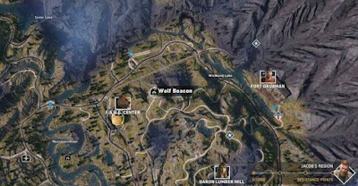 Far Cry 5, Wolf Beacon Location, Northeast of the F.A.N.G. center, Call of the Wild