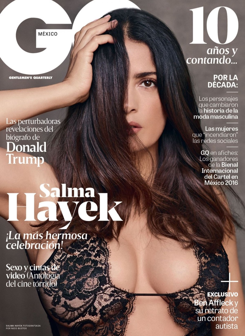 Salma Hayek smoulders in lingerie for GQ Mexico