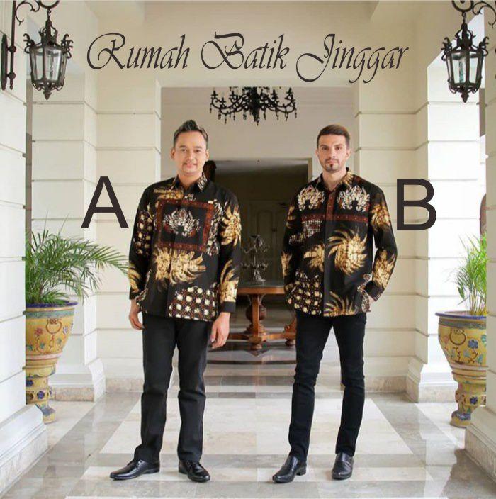 Kemeja Lengan Panjang Batik Cap Kombinasi by Rumah Batik Jinggar