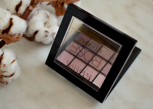 отзывы, свотчи, макияж Eveline cosmetics палетка теней All in One Rose