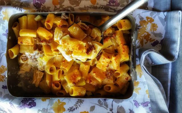 pasta al forno- patate e salsiccia