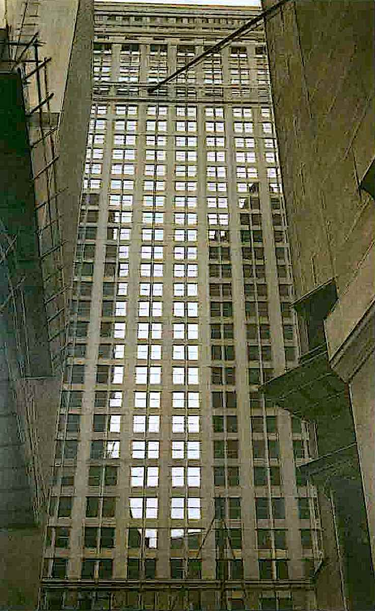 a Bernard Boutet de Monvel painting of a skscaper building
