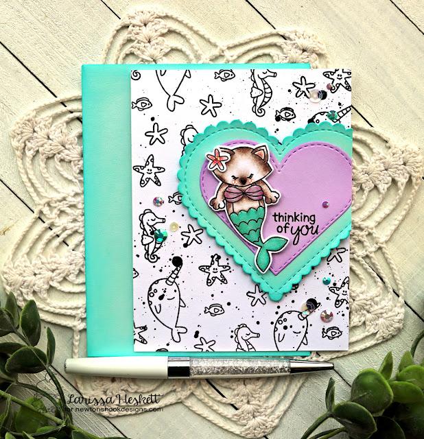 Purr-maid Card by Larissa Heskett | Purr-maid Stamp Set, Narly Mermaids Stamp Set and Heart Frames Die Set by Newton's Nook Designs #newtonsnook #handmade