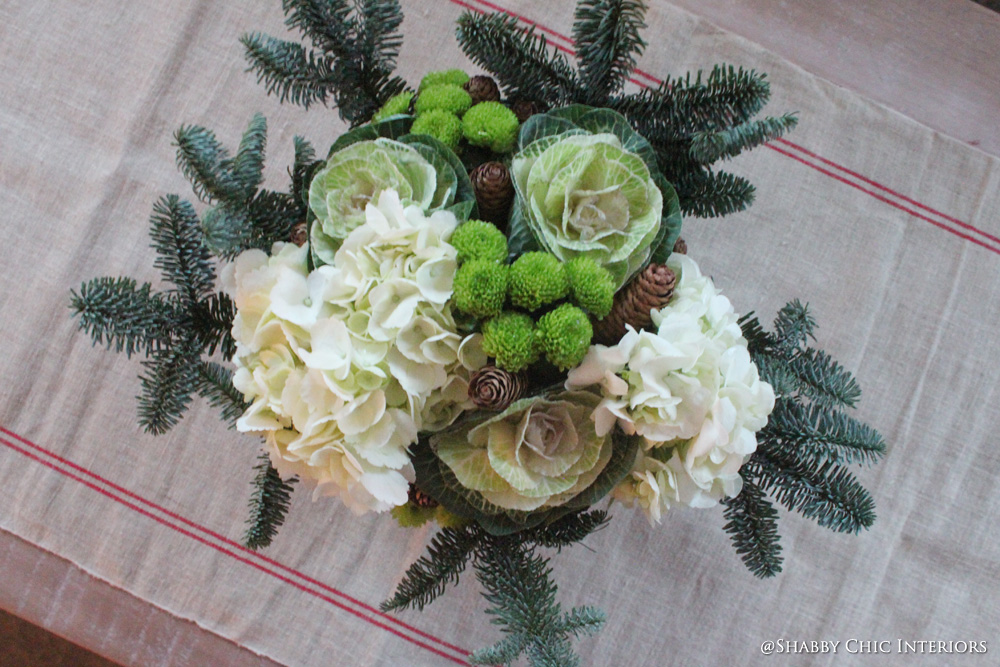 Natalealverde centrotavola green shabby chic interiors - Decorazioni natalizie stile shabby chic ...