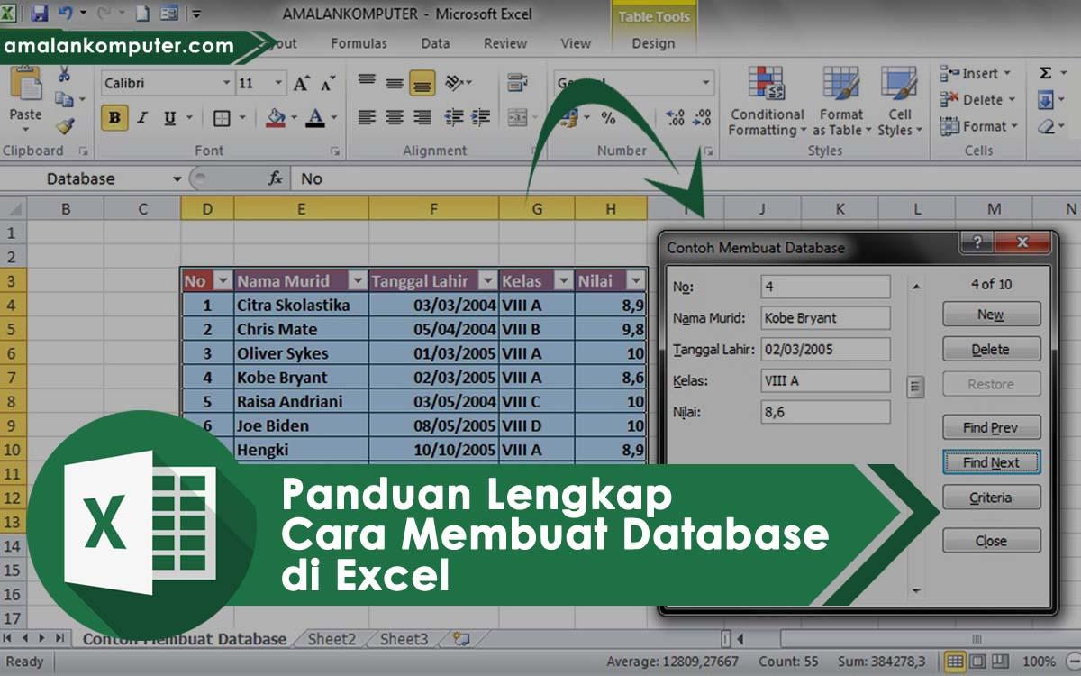 cara membuat database di excel