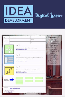 """Teach your middle school students how to analyze the development of idea over the course of a nonfiction text with this digital lesson! Students will learn a 3 step process for determining how ideas develop in any piece of nonfiction with 2 videos, interactive guided notes that I call Pixanotes®, and a self-grading """"quick check"""" activity."""