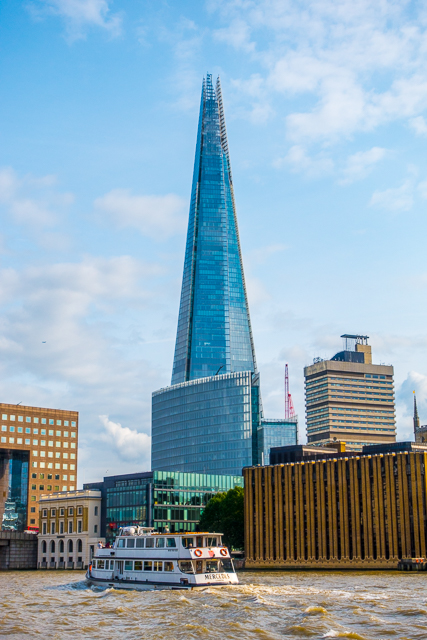 View of The Shard from Thames River Boat - London, England