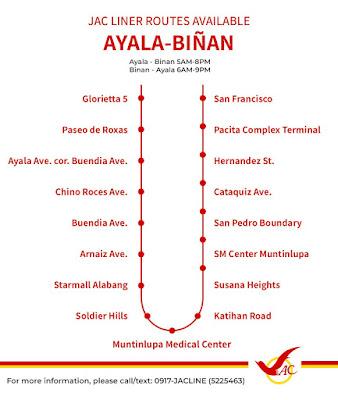 JAC Liner Route Binan to Ayala