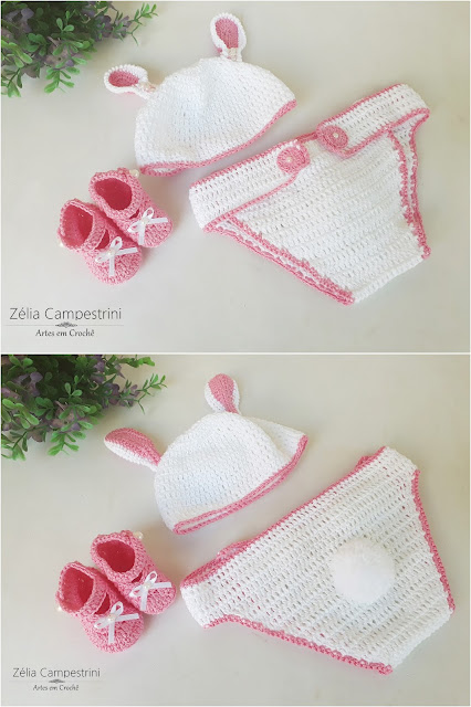 Conjunto Coelhinha para Newborn - Touca, calça e sapatinho.