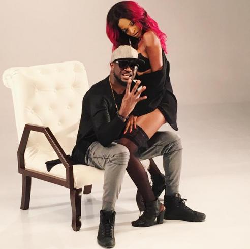 Peter Okoye and Rihanna look-alike on set of his new music video