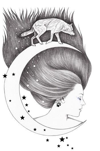 """Moonwalker"" by Andrea Hrnjak | dibujos bonitos a lapiz | imagenes lindas | illustration art | mujer con luna"