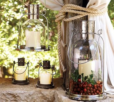 These candles in glass lanterns are great outdoor accents.