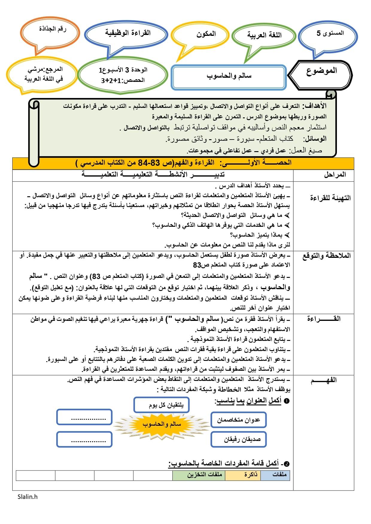جذاذات الوحدة الثالثة الأسبوع الاول المستوى الخامس ابتدائي مرشدي في اللغة العربية