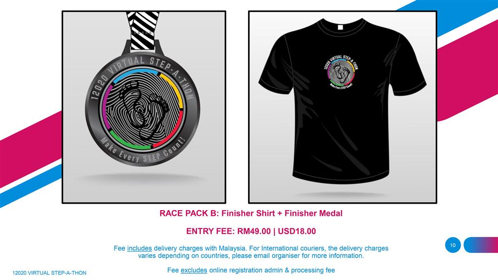 12020 Virtual Stepathon Challenge | Race Pack B - Finisher Medal with Finisher Shirt