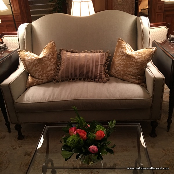 love seat in Wentworth Mansion lodging in Charleston, South Carolina