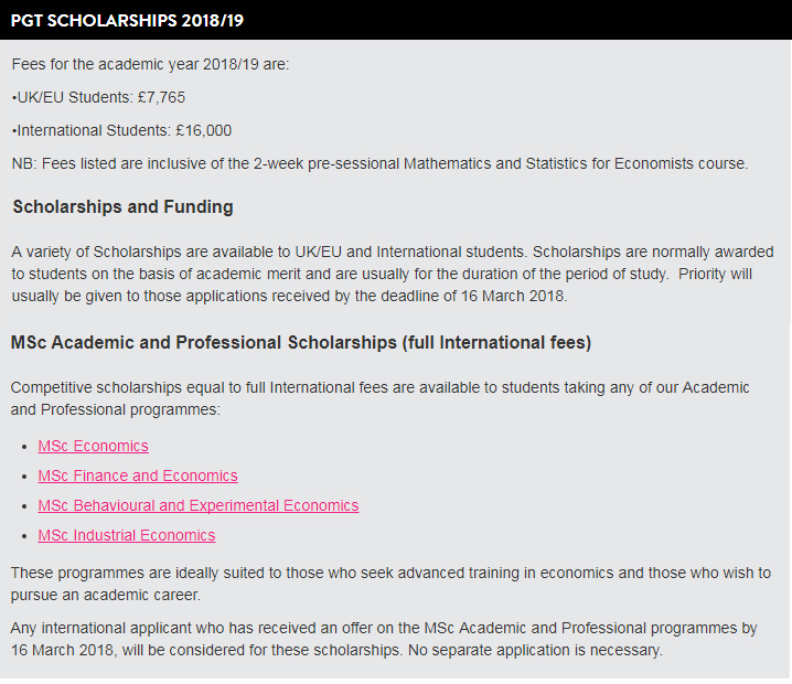 University of East Anglia MSc Academic and Professional Scholarships for International Scholarships