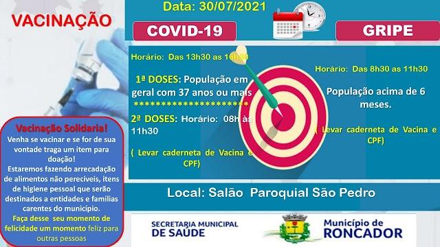 Confira a programação de vacinação para este dia 30 de julho em Roncador