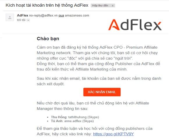 Click và xác nhận email đăng ký tài khoản adflexcpo