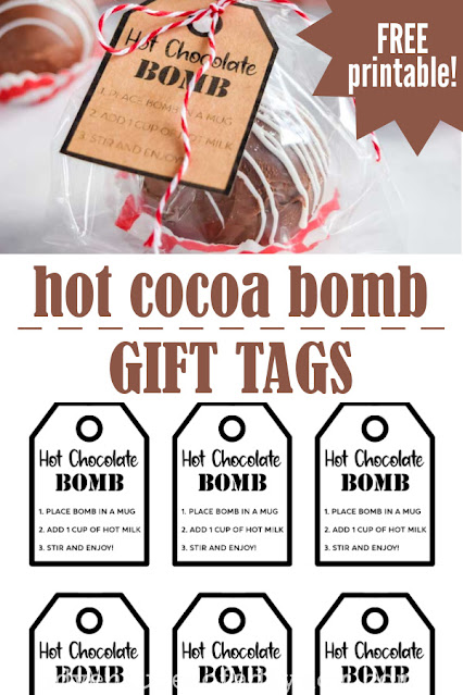 collage of an image of a packaged hot chocolate bomb and a printable gift tag.