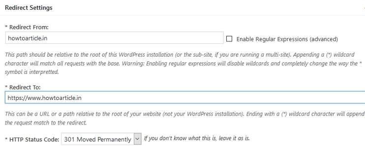 Safe Redirect Mangager Plugin for creating 301 Redirect WordPress