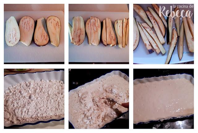 Receta de berenjenas en tempura con miel: corte y preparación de la masa