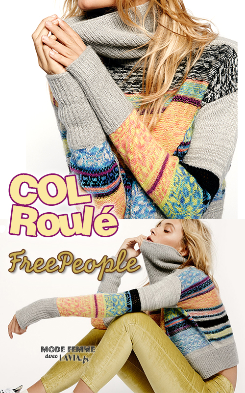 Pull femme col roulé laine multicolore FREE PEOPLE