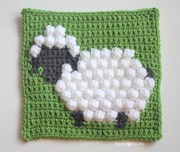 Crochet Bobble Stitch Sheep Square Repeat Crafter Me
