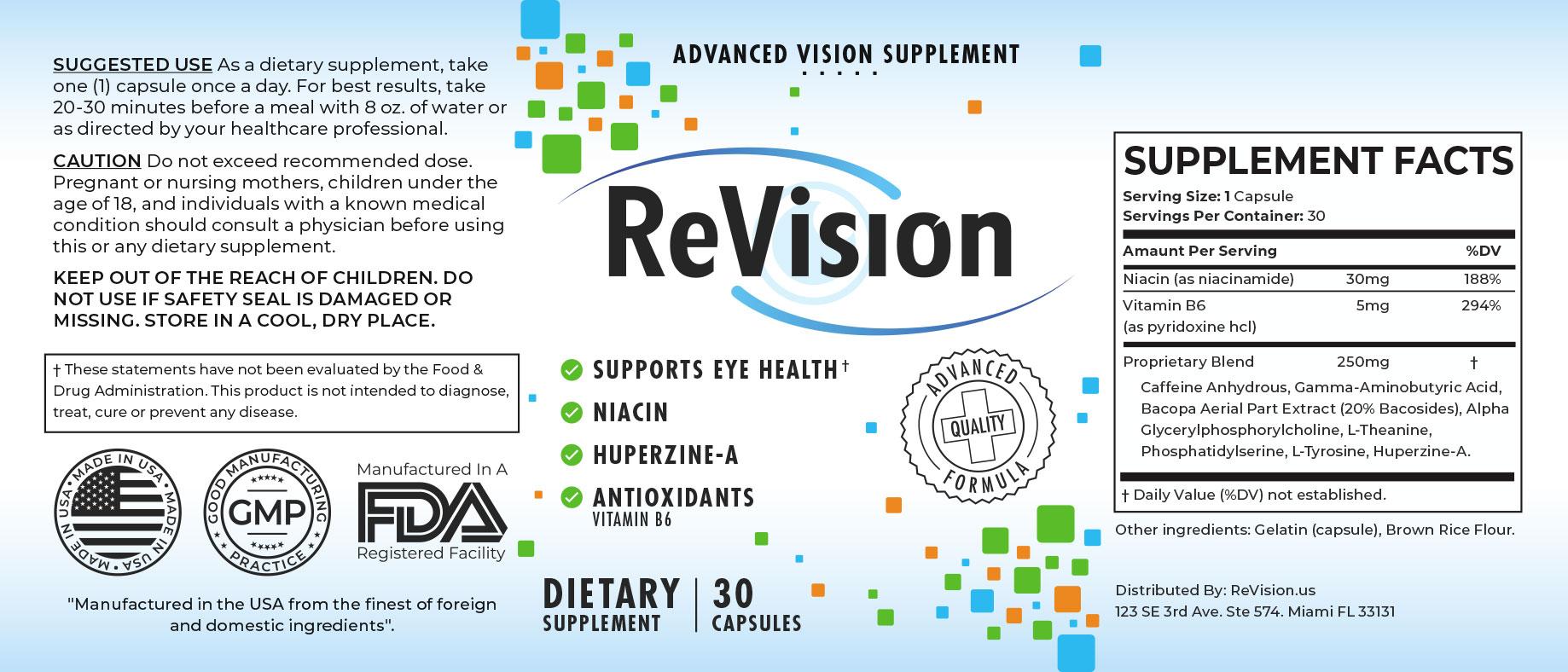 ReVision Eye Supplement Supplement Fact