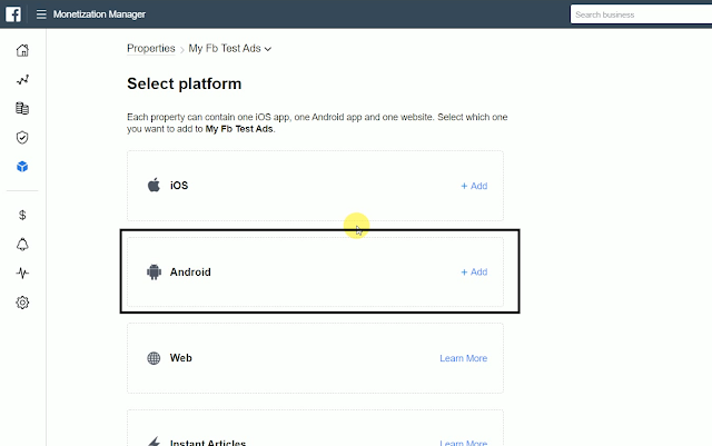 Click on Android from platform section