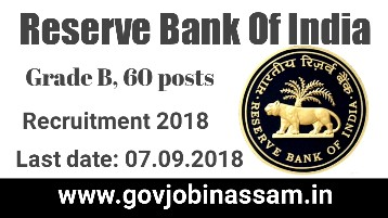 Reserve Bank Of India Grade B Recruitment 2018,govjobinassam