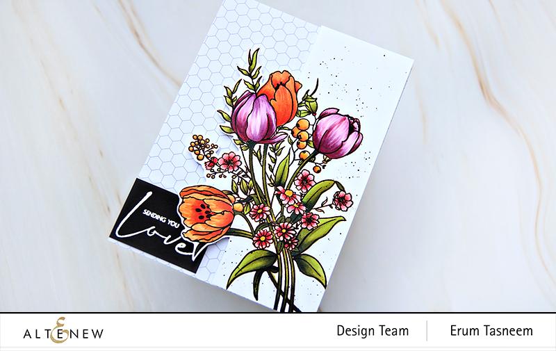 Altenew Paint-A-Flower: Tulips Outline Stamp Set + Artist Markers | Erum Tasneem | @pr0digy0