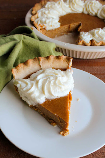 slice of sweetened condensed milk pumpkin pie served and ready to eat
