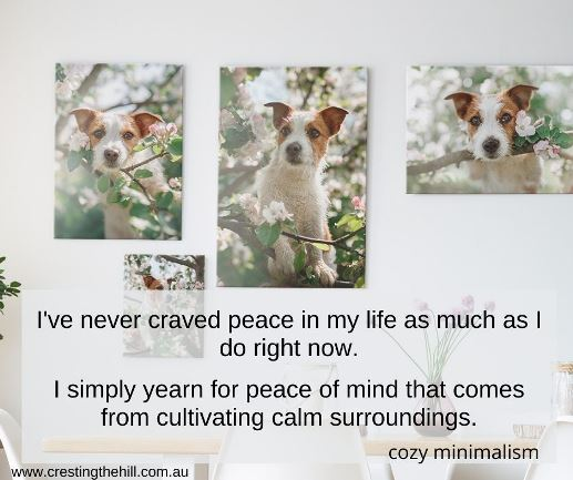 I've never craved peace in my life as much as I do right now.  I simply yearn for peace of mind that comes from cultivating calm surroundings.