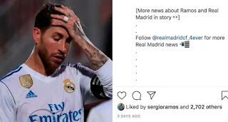 Sergio Ramos 'likes' Instagram post stating he'll leave Real Madrid in summer