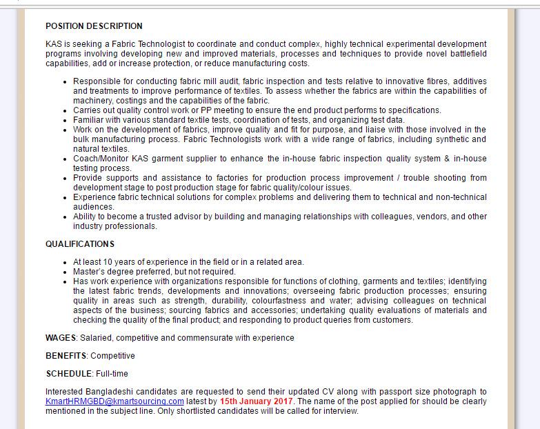 Kmart Australia Limited - Post: Fabric Technologist - Jobs