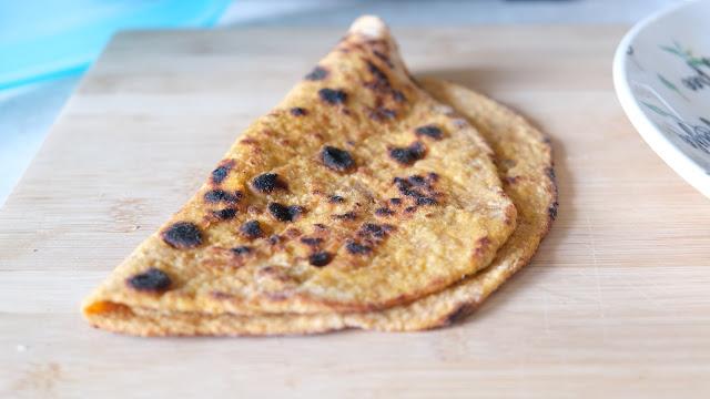 Sweet potato flatbread on a wooden chopping board
