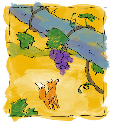 A fox looking longingly a grapes