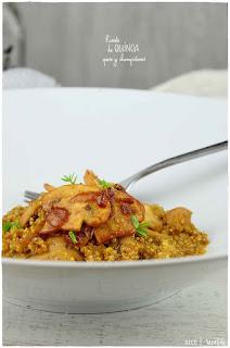 Quinotto (risotto de quinoa) con champiñones y queso➡ Quinoa receta fácil de preparar