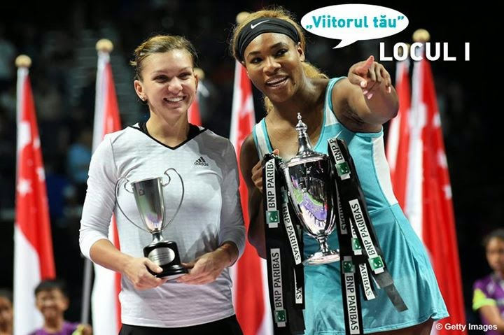 Simona Halep Serena Williams interviu TVR poza cu numarul 1 mondial number one aeroportul Otopeni VIDEO Singapore semifinale Turneul Campioanelor WTA Finals YOUTUBE 25.10.2014 Eugenie Bouchard Agnieszka Radwanska aromani celebri armana Simona Halep origine machidoanca