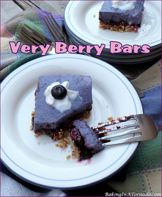 Very Berry Bars start with a graham cracker crust, followed by a thick berry layer and topped with a creamy berry layer. | Recipe developed by www.BakingInATornado.com | #recipe #dessert